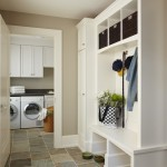 Hadinger Flooring for Traditional Laundry Room with Built in Shelves