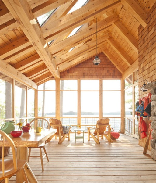 Hancock Lumber for Farmhouse Deck with Pine Ceiling