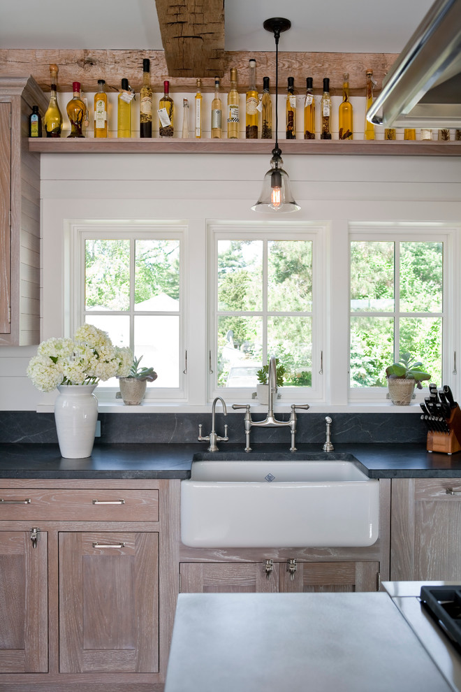 Handsome Cabinets for Beach Style Kitchen with Beams