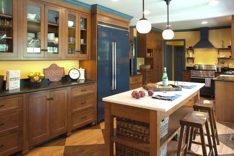 Handsome Cabinets for Farmhouse Kitchen with Blue Appliances