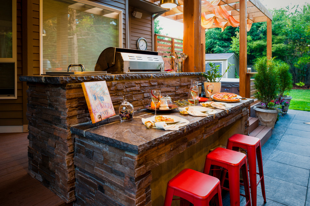 Hearth and Grill for Contemporary Patio with Brown Exterior