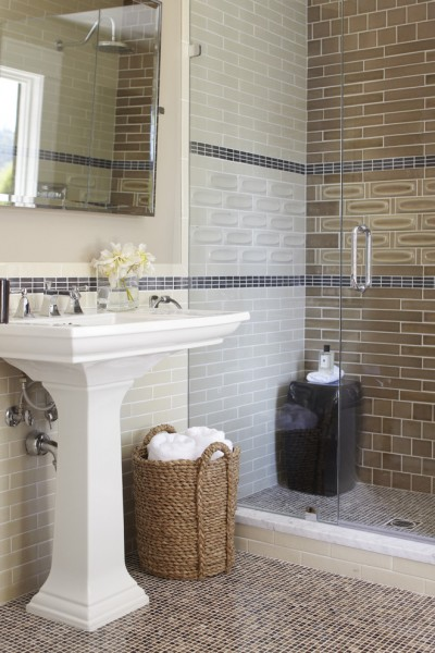 Heath Ceramics for Transitional Bathroom with Ceramic Tile Shower Wall