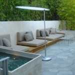 Hefner Furniture for Contemporary Patio with Brown Patio Cushions