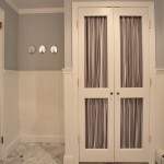 Helm Paint for Traditional Powder Room with Curtained Doors