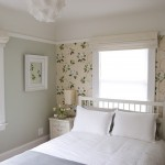Hemnes Bed Frame for Contemporary Bedroom with Floral Wallpaper