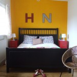 Hemnes Bed Frame for Eclectic Bedroom with Black Bed