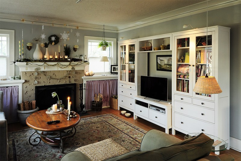Hemnes Ikea for Eclectic Living Room with Oriental Rug