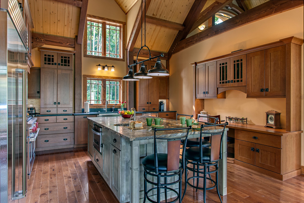 Hermitage Lighting for Rustic Kitchen with Green Island