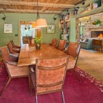 Hickory Chair Furniture for Rustic Dining Room with Area Rug