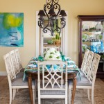 Hickory Chair Furniture for Shabby Chic Style Dining Room with Chandelier
