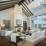 Hickory Chair Furniture for Transitional Living Room with Exposed Beams