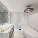 Holly Hunt Lighting for Contemporary Bathroom with Trough Sink