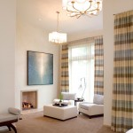 Holly Hunt Lighting for Contemporary Bedroom with Striped Curtains