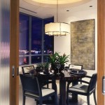 Holly Hunt Lighting for Contemporary Dining Room with Black Dining Chairs