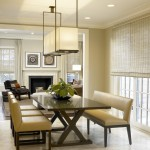 Holly Hunt Lighting for Contemporary Dining Room with Rectangular Pendant
