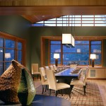 Holly Hunt Lighting for Modern Dining Room with Wood Trim