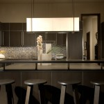 Holly Hunt Lighting for Modern Kitchen with Counter Stool
