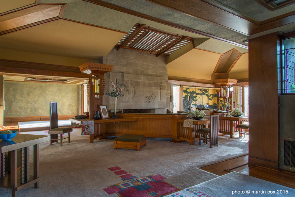Hollyhock House for Craftsman Living Room with Hollyhock House