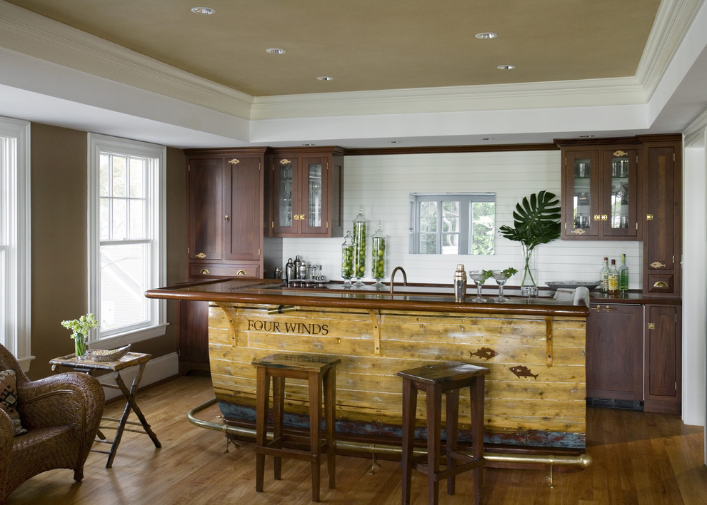Hometeam Properties for Rustic Home Bar with White Back Splash