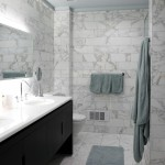Honed Marble for Contemporary Bathroom with Double Sinks