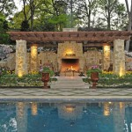 Hop Trellis for Mediterranean Landscape with Fireplace Stone Fireplace