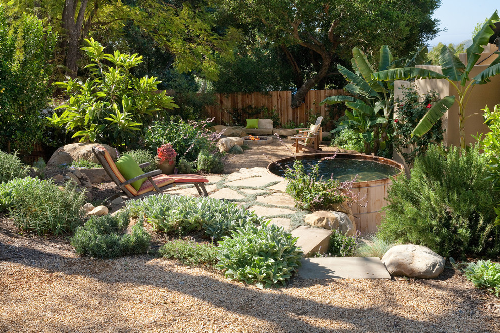 Hot Tubbing for Rustic Landscape with Stone Fire Pit