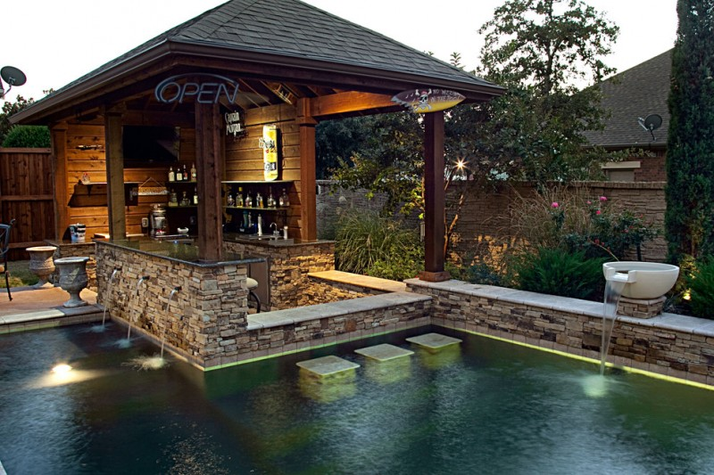 How Do Tankless Water Heaters Work for Rustic Pool with Pool Deck