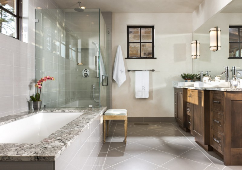 How to Clean Shower Grout for Rustic Bathroom with Wall Mirror