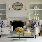 How to Decorate a Fireplace Mantel for Traditional Living Room with Oval Mirror