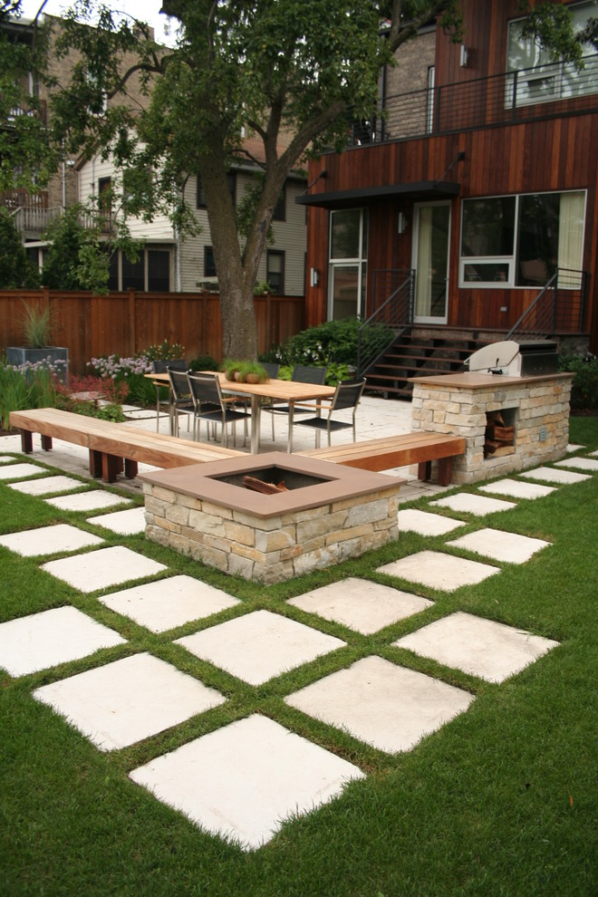 How to Lay Pavers for Contemporary Patio with Wall Sconce