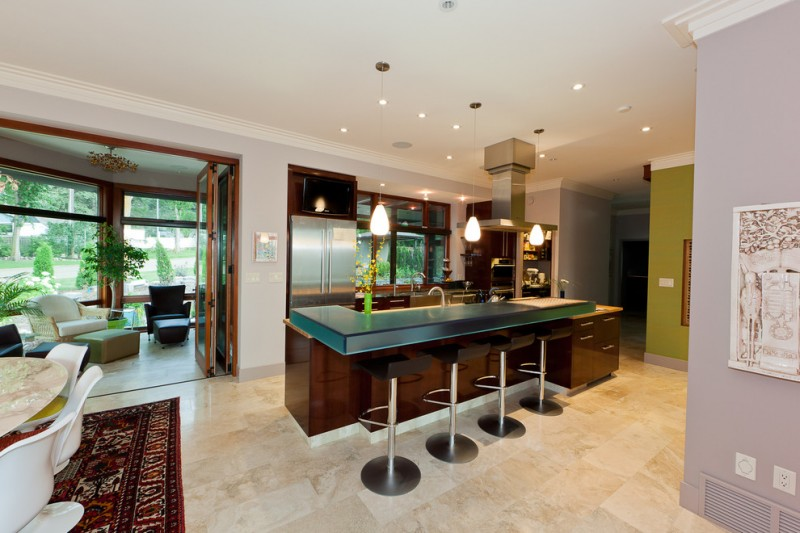 How to Remove Baseboard for Contemporary Kitchen with Island Lighting