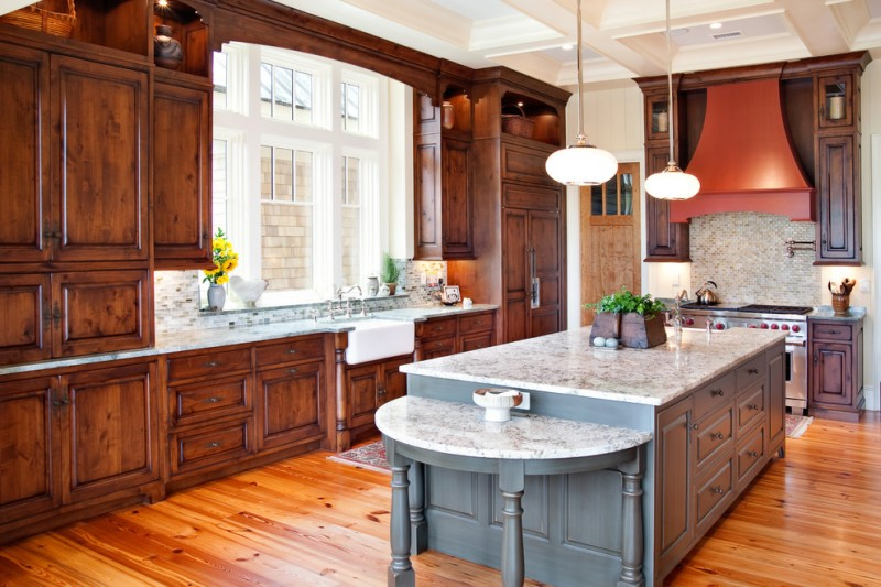 How to Restain Cabinets for Traditional Kitchen with Pot Filler