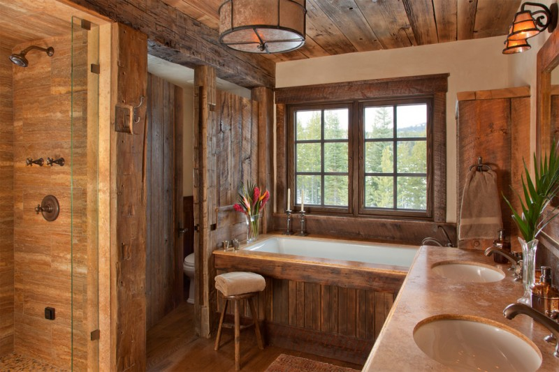 How to Restain Wood for Rustic Bathroom with Oversized Bathtub