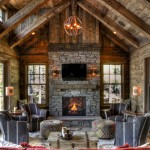 How to Restain Wood for Rustic Living Room with Reclaimed Wood Trusses