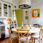 How to Whitewash Brick for Eclectic Kitchen with Ladder