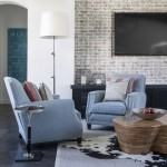 How to Whitewash Brick for Eclectic Living Room with Light Blue Chairs