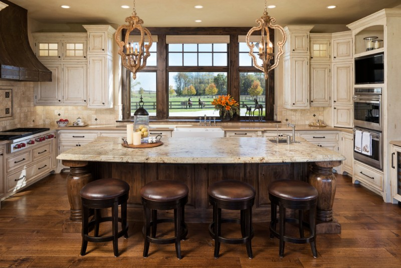 Hunts Point Wa for Rustic Kitchen with Backless Bar Stoolswall Ovens