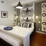 Ikea Bjursta Table for Contemporary Bedroom with Beige Bedding