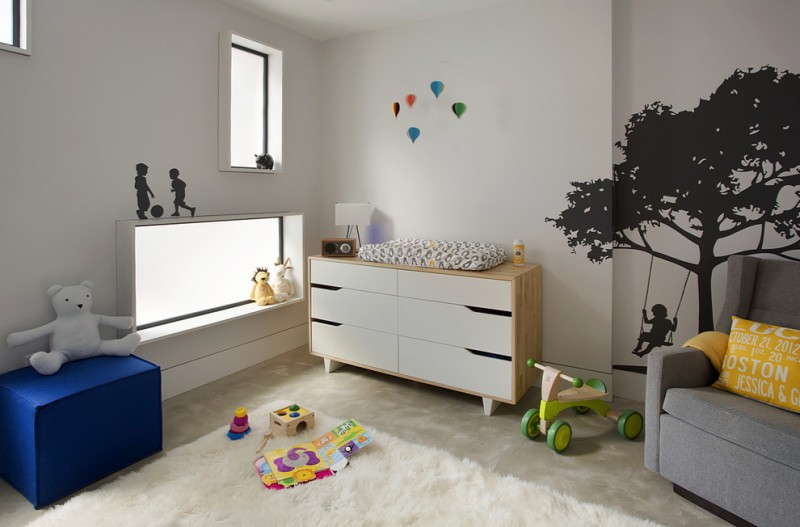 Ikea Changing Table for Contemporary Nursery with Silhouette Wall Decals