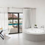Ikea Curtain Rods for Modern Bathroom with Window Treatments
