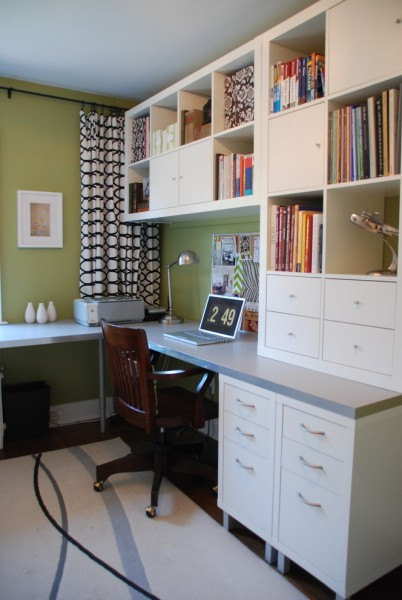 Ikea Desk Hack for Contemporary Home Office with Drapes