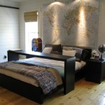 Ikea Malm Bed for Traditional Bedroom with Bamboo Blinds