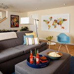Imax Accessories for Contemporary Basement with Blue and Yellow
