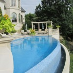 Infinity Edge Pool for Traditional Pool with Fountain