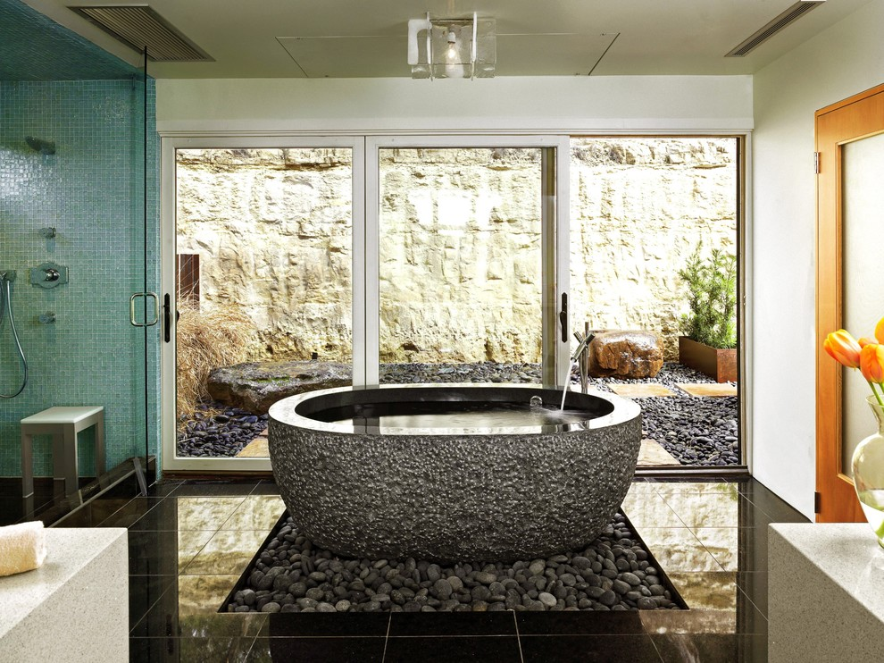 Installing a Bathtub for Contemporary Bathroom with Freestanding Bathtub