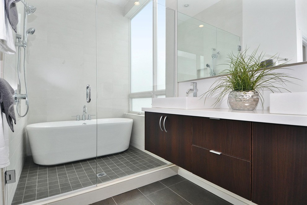 Installing a Bathtub for Contemporary Bathroom with Shower Tile