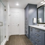 Installing Pocket Doors for Transitional Bathroom with Shaker Cabinets