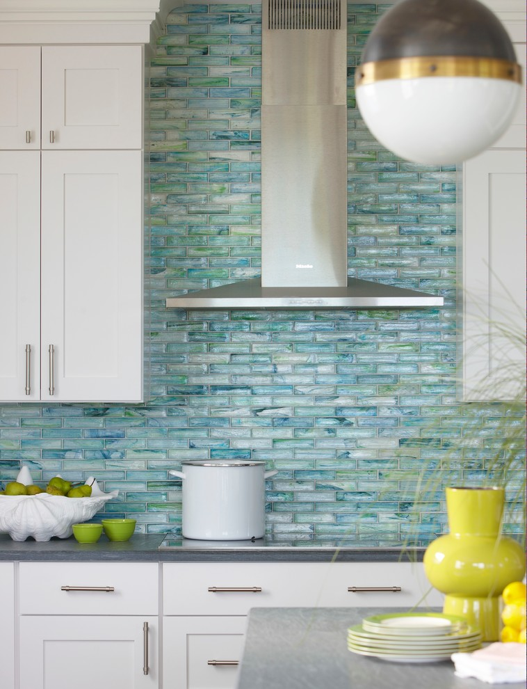 Installing Tile Backsplash for Beach Style Kitchen with Cooking