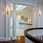 Ionic Columns for Traditional Hall with Traditional Sconces