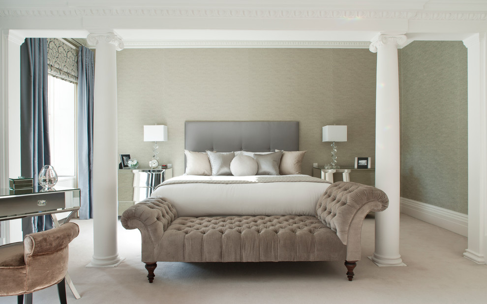 Ionic Columns for Transitional Bedroom with Bedroom Bench